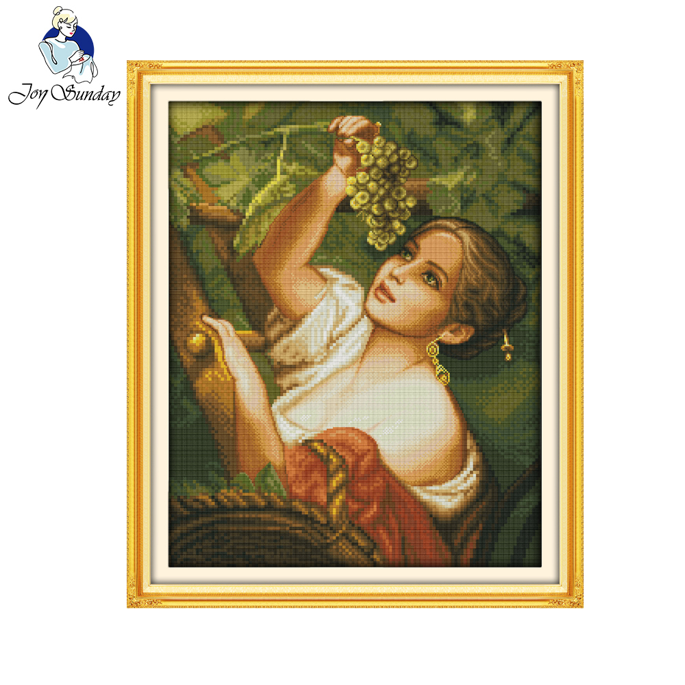 Joy Sunday The Plucking Grapes Girl Pattern Needlework Cross Stitch Cross Stitch Chinese Cross Stitch Kit Embroidery Home Decor