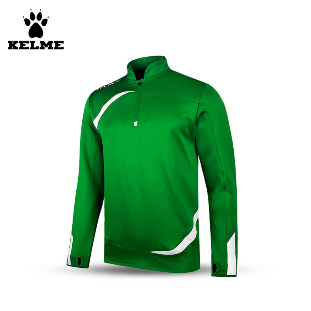 Kelme K15Z316 Men Breathable Half Zip Long Sleeve Stand Collar Knit Training Soccer Jersey Green White