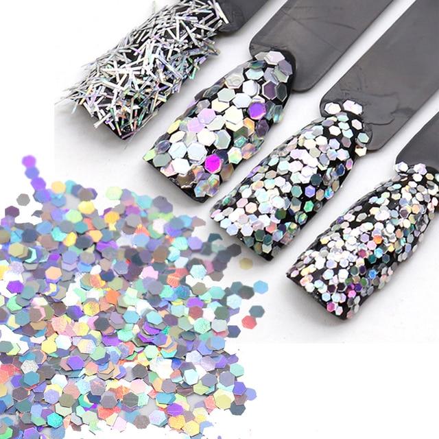 Aliexpress Buy 1box Silver Laser Nail Sequins Hexagon Glitter