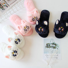 Girl Soldier Moon Sailor The Cat Luna Cartoon Home Furnishing Slipper Autumn And Winter Lint Indoor Slipper Non-slip Keep Warm kawai girl soldier sailor moon the cat luna bowknot home cotton flannel slipper ma am indoor non slip floor slipper girl s shoes