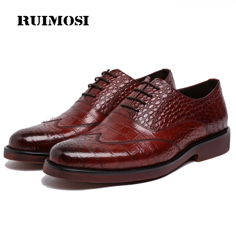 RUIMOSI New Crocodile Wing Tip Platform Man Dress Shoes Genuine Leather Brogue Oxfords Round Toe Formal Brand Men's Flats NC95