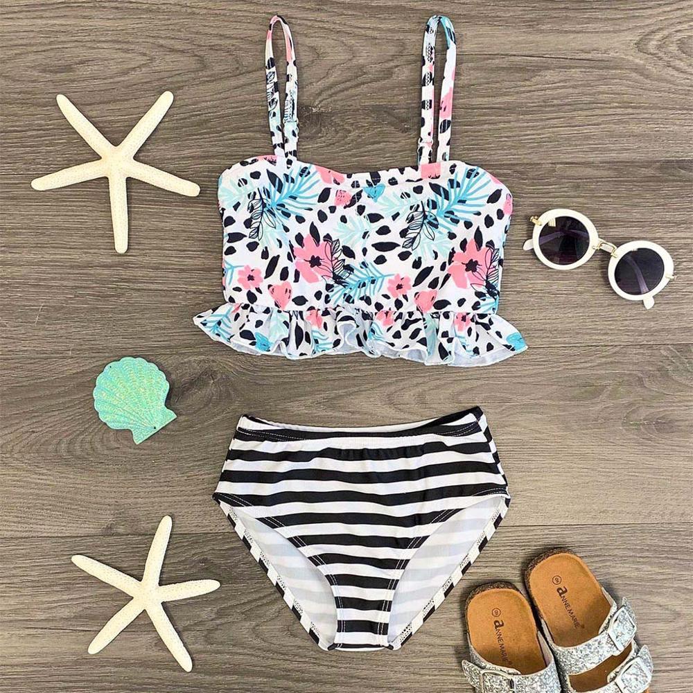 Girls Swimwear Summer Baby Girls Floral Striped Print Swimwear Swimsuit Bikini Outfits INS Explosion Children's Floral Bikini A1