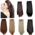 ombre Clip in Hair Extensions Long Straight Synthetic Hair blonde Clip in on hair extensions Hairpiece 20inch 8pcs/set 160g