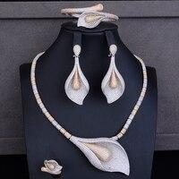 Popular Nigerian jewellery sets for women Tulip CZ Collar Necklace Earrings Bracelet Ring Jewelry Sets Wedding bijoux femme