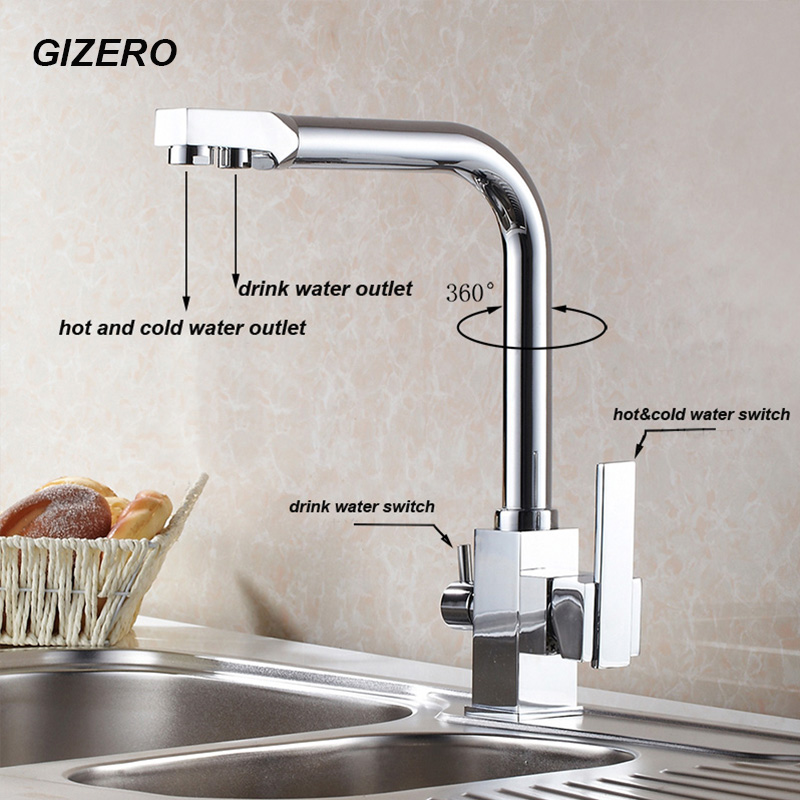 Hot Sale High Quality US Standard Drink Water Faucet Kitchen Swivel Hot And Cold Filter Water Faucet Luxury Chrome Finshed ZR646