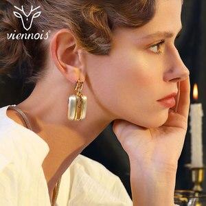 Image 5 - Viennois זהב/לערבב כסף צבע Stud עגילים גדול תליון תכשיטי סט לנשים תכשיטי סטים חדש
