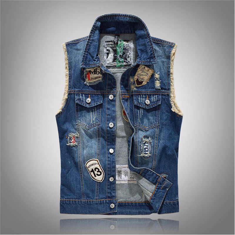 ファッション 2019 男性デニムジーンズベストコートリッピングノースリーブ春マンストリートチョッキ穴ジャケット