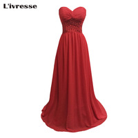 2017 New Long A Line Red Chiffon Pleats Beaded Evening Dresses Hot Cheap Vestido De Festa