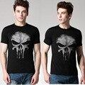 Enfriar Mens ocasionales The Punisher Tops Skull Skeleton imprimir patrón del o-cuello corto manga negros Color de las camisetas