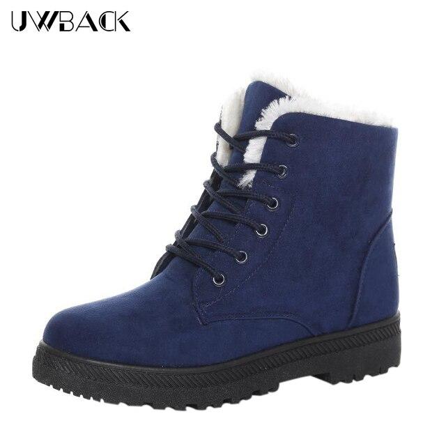 Uwback 2016 nueva marca invierno mujeres nieve botas plus size 43 Punta redonda Con Cordones Zapatos Mujer Zapatos de Plataforma Botines de Piel Caliente XJ140