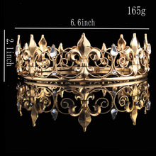 Full Circle Gold Prom Accessories King Men's Crown Round Imperial Medieval  Gold Rhinestone Tiara