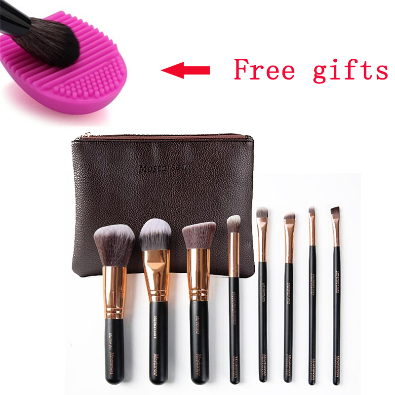 brand makeup mostarsea brushes set 8pcs/set pro soft fiber complete blending wooded handle with leather bag