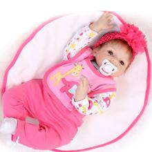 "New 22"" Lovely doll reborn babies for sale silicone reborn baby dolls munecas reborn girls toys birthday gift"