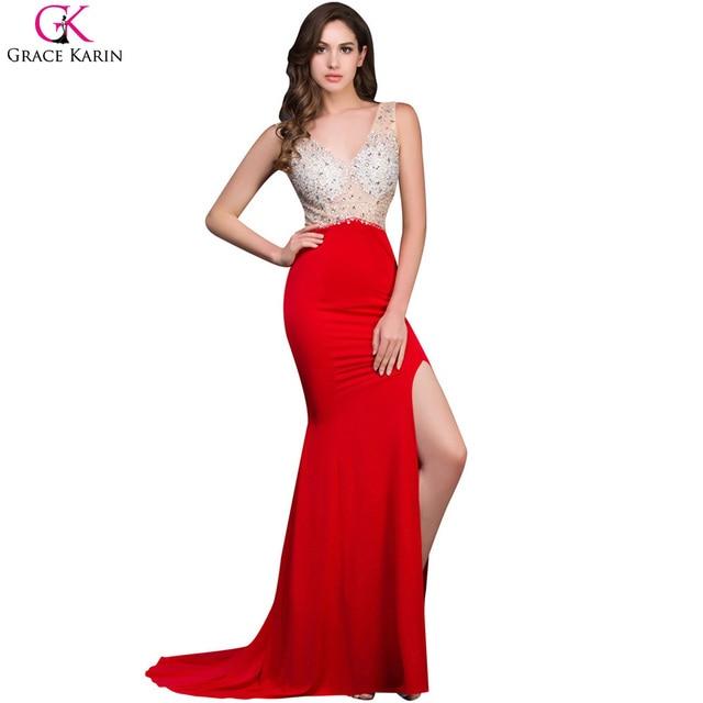 Grace Karin Long Mermaid Prom Dresses Beaded Sequin Backless ...