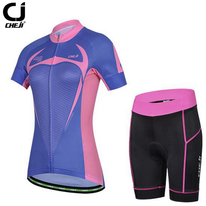 CHEJI Women Cycling Jersey Sets Bike Short sleeve Mtb Riding roupa Outdoor Sportswear Autumn Maillot Cycling Clothing cheji women mtb cycling jersey sets bike outdoor sportswear maillot clothing quick dry cycling clothing long sleeve jersey