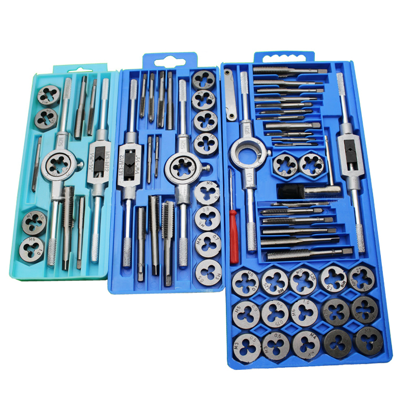 SHE.K Tap And Die Set M3-M12 Screw Thread Metric Plugs Taps & Tap Wrench 12pcs 20pcs 40pcs Alloy Steel Metric Tap Die Tools Sets