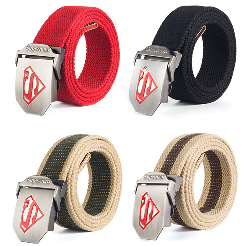 Superman mens belt Stretch canvas Elastic waist belt for men male elastic Tactical straps with metal buckle Wide jeans belt