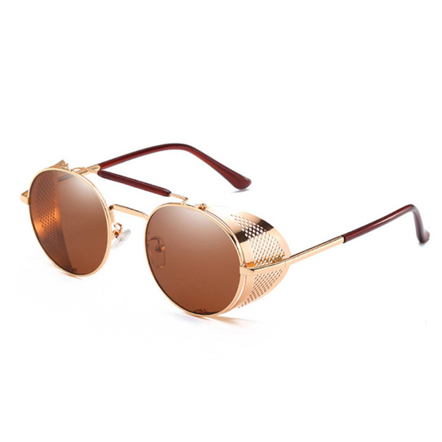 549684d05689 LAOKE Vintage Retro Round Steampunk Sunglasses Fashion Decoration Punk Men  Goggles for Motor Driving Concert Club JY66247