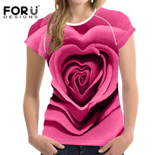 FORUDESIGNS Sexy Women Rose t-shirt Summer tops & tees 3D Floral Printing tshirt Shirt Short Sleeve Pink Top Ladies