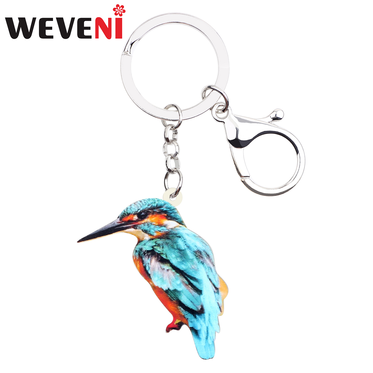 WEVENI Statement Acrylic Cute Kingfisher Bird Key Chains Keychains Holders Animal Jewelry Gift For Women Girls Bag Car Charms