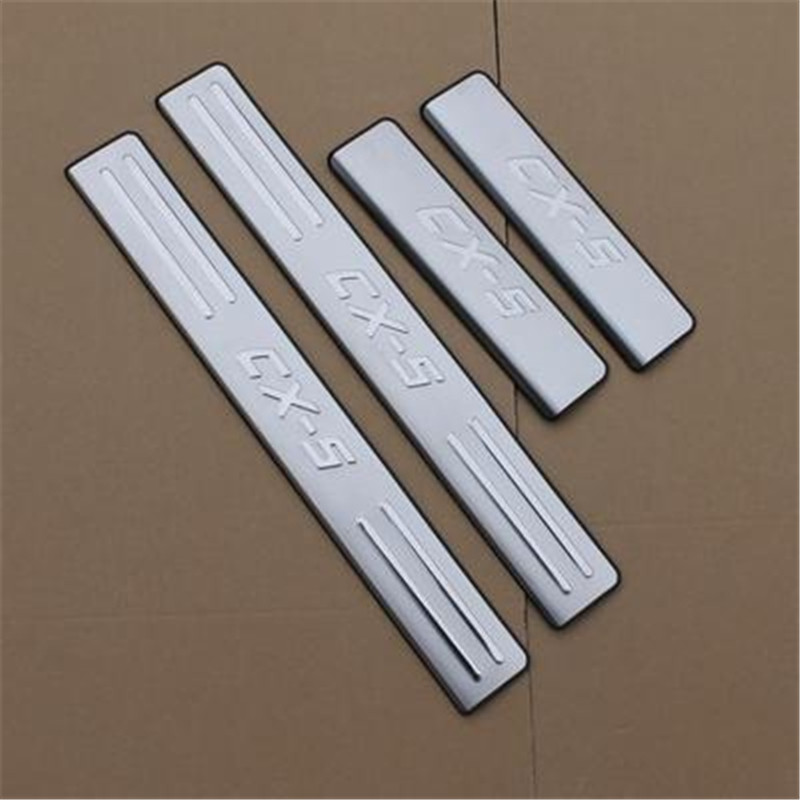car styling 4pcs stainless steel Door Sill Scuff Plate Welcome Pedal For <font><b>Mazda</b></font> <font><b>cx5</b></font> CX-5 2013 2014 2015 2016 Car accessories image