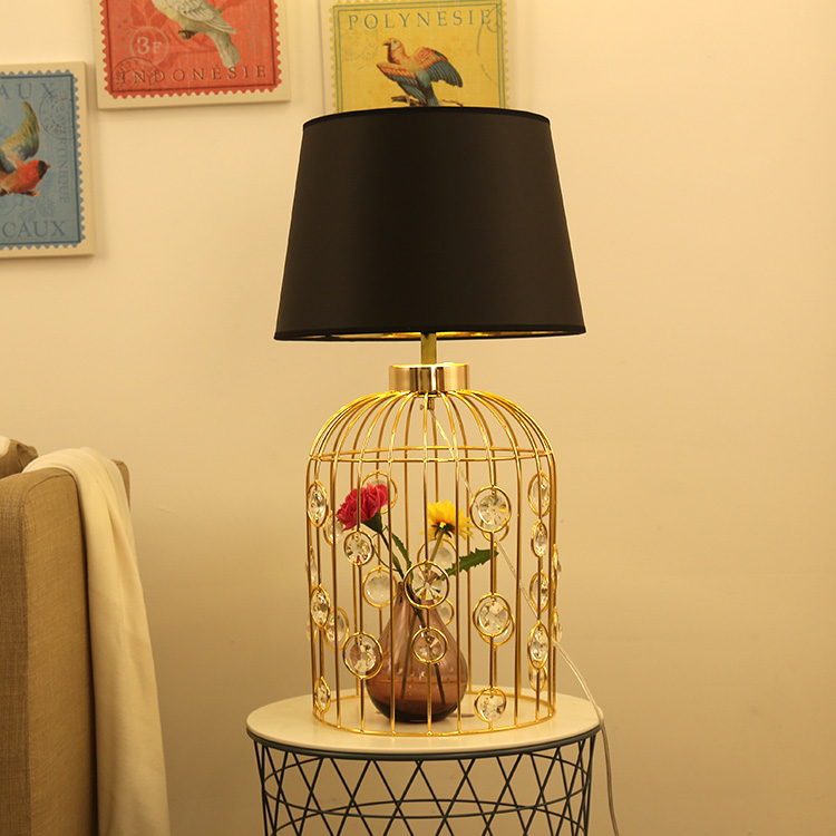 Gold Wrought Birdcage With Crystal Table Lamp With Fabric Lampshade lamparas de mesa Desk Light Deco Luminaria For Living Room trazos modern table lamp with fabric lampshade led lamparas de mesa metal desk light e27 hotel lighting deco luminaria de mesa