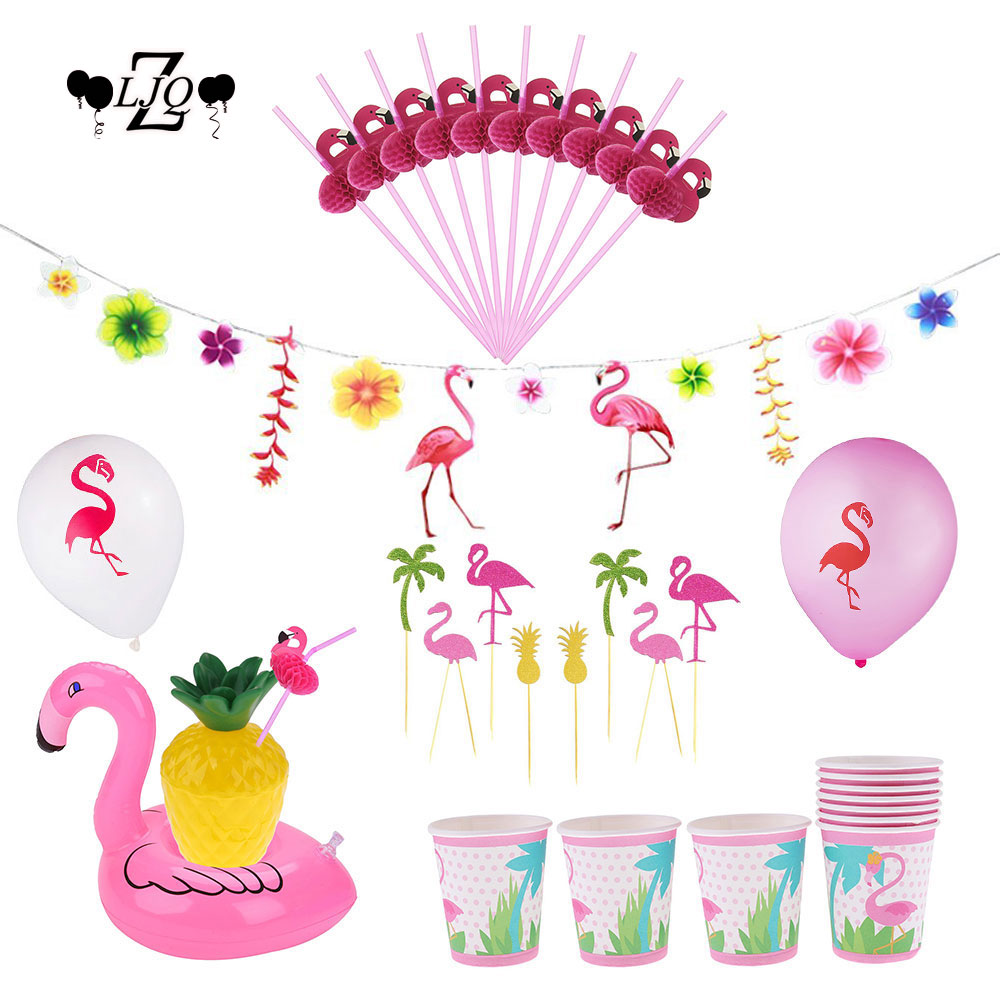 ZLJQ Flamingo Flag Garland Straw Foil Balloons Cupcake Toppers Wedding Birthday Party Decoration Hawaiian Pool Party Supplies