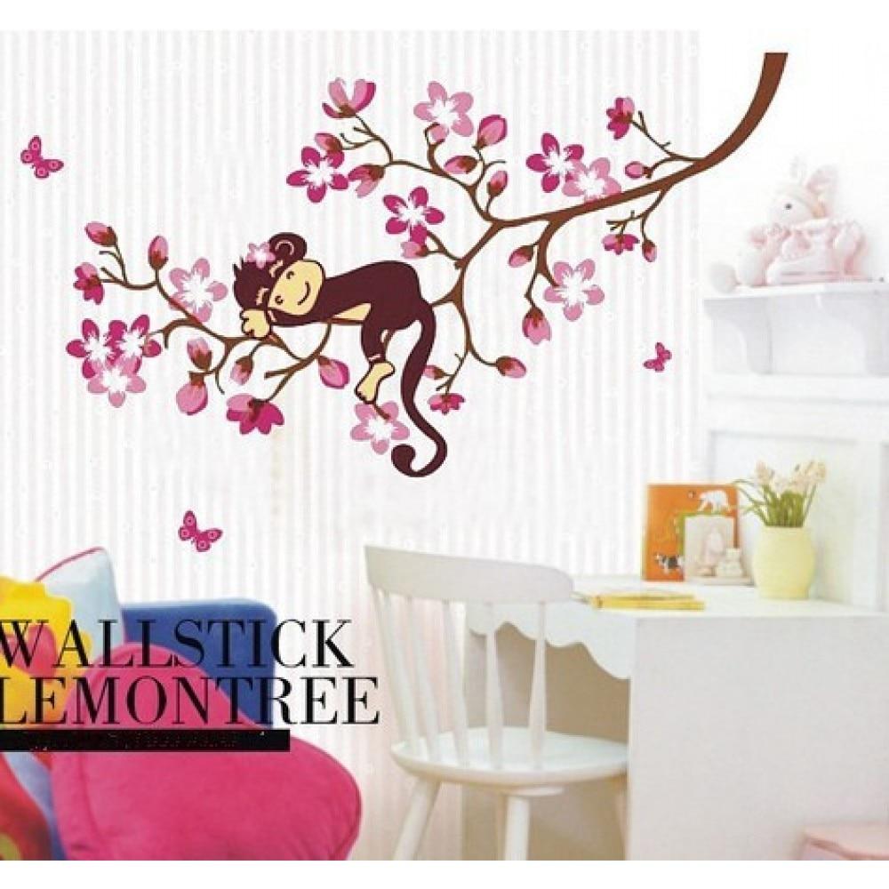 Us 9 Monkey Sleeping On The Sakura Tree Wall Decal Flower Stickers For Children Room Nursery G3jm8091 In From Home Garden