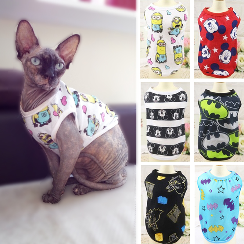 Cartoon Cotton Pet Cat Clothes For Cats Summer Cat Dog Vest Tshirt Camouflage Kitten Vests Shirts Kitty Clothing Pets Products