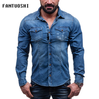 Men Shirt Brand 2018 Male Long Sleeve Shirts Casual Print Denim Cotton Slim Shirts Single breasted Mens blue black Plus Size 3XL