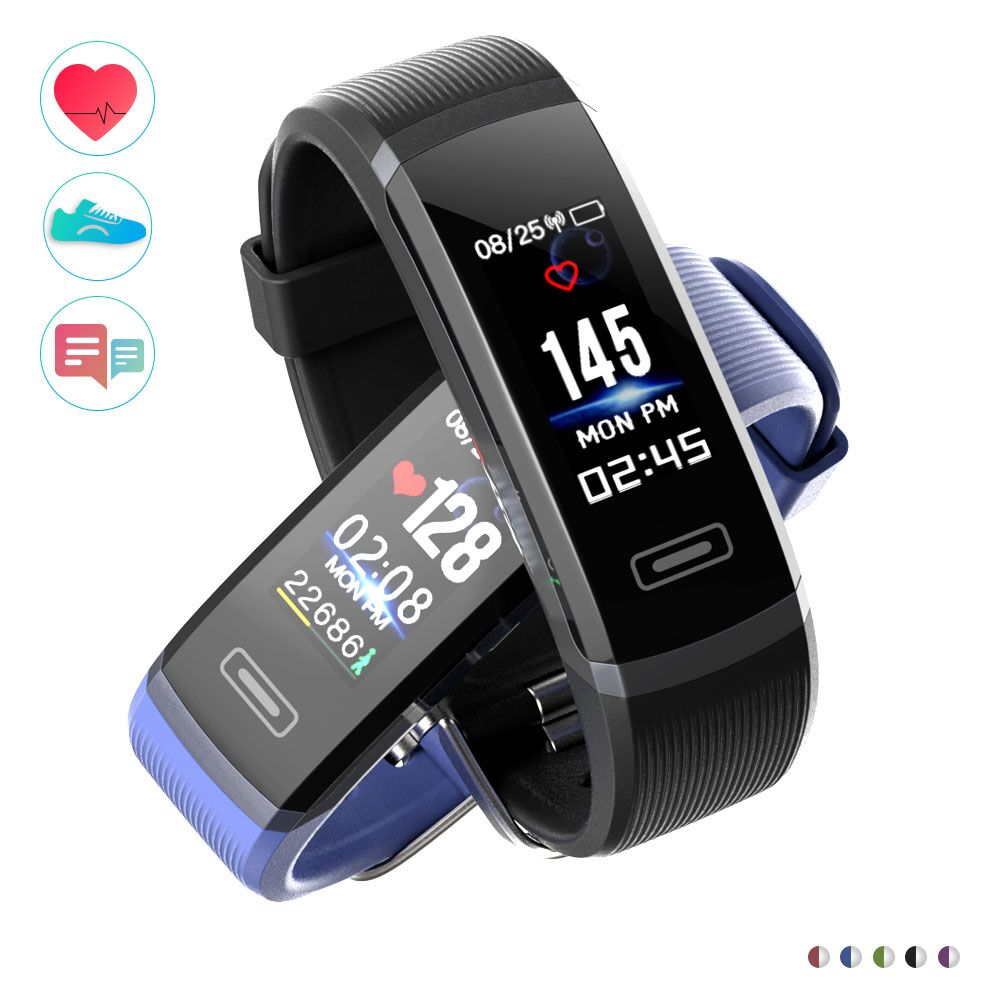 GT101 Smart Band 0.96 Color Screen Smart Bracelet dynamic Real-time Heart Rate Monitor Sport waterproof watch & stopwatch