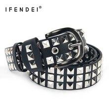 IFENDEI Korean Fashion Decorated Rivets Belt Women Luxury Designer Female Punk Vintage PU Leather Belts Waist  Wide 5cm Jeans