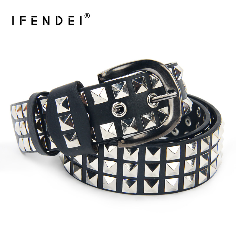 IFENDEI Luxury Designer Punk   Belts   For Women Men Fashion Rivets Male   Belt   PU Leather Hip Hop Strap Women cinturon mujer Street