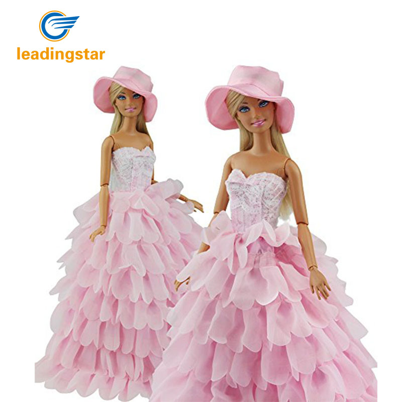 Princess Evening Party Clothes Dress Outfit Set Multi Layers Gown for Barbie Doll with Hat Perfect Children Christmas Gift hatber optimum barbie the pearl princess 20627