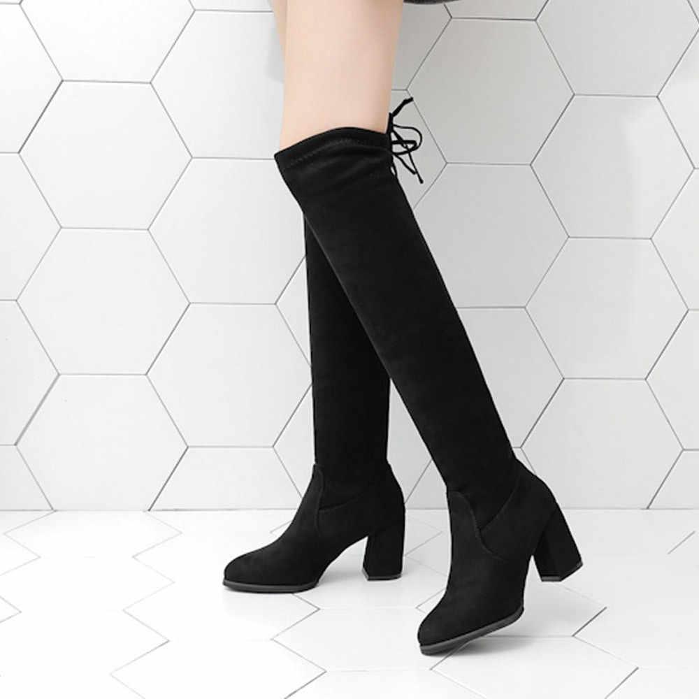 Ayakkabı kadın botları yüksek topuk akın kare topuk kadın diz üzerinde çizmeler dantel kadar seksi yüksek topuklu ayakkabılar dantel up kış çizmeler # A1