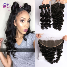 Brazilian Loose Wave With Closure 13×4 Ear To Ear Lace Frontal Closure With Bundles,Brazilian Virgin Hair With Frontal