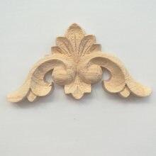1 ST Decoratieve Hout Applicaties voor Meubels Kastdeur Natuurlijke Hout Lijstwerk Decals Bloem Houtsnijwerk Beeldjes 6 CM 8 CM