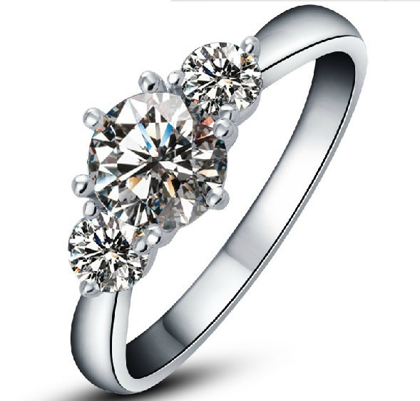 2 Carat Solid Gold 750 Three Stone Great Synthetic Diamonds Women Wedding Ring Statement Weddging Fine Gold Jewelry