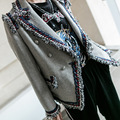 European Style Grey Striped Blazer Feminino Newest 2017 Spring Autumn Women Clothing Slim Casual Coat Women's Jacket E508
