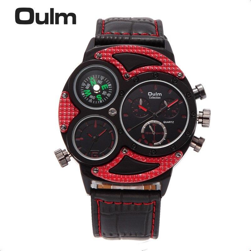 Новые модные спортивные часы OULM Японии двойной ход Для мужчин t часы Для мужчин квадратный циферблат Компасы Функция Военная Униформа Прохл...