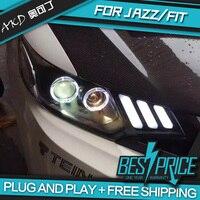 AKD Cars Styling Headlight For Honda FIT JAZZ GK5 Headlights LED Running lights Bi Xenon Beam Fog lights angel eyes Auto levels