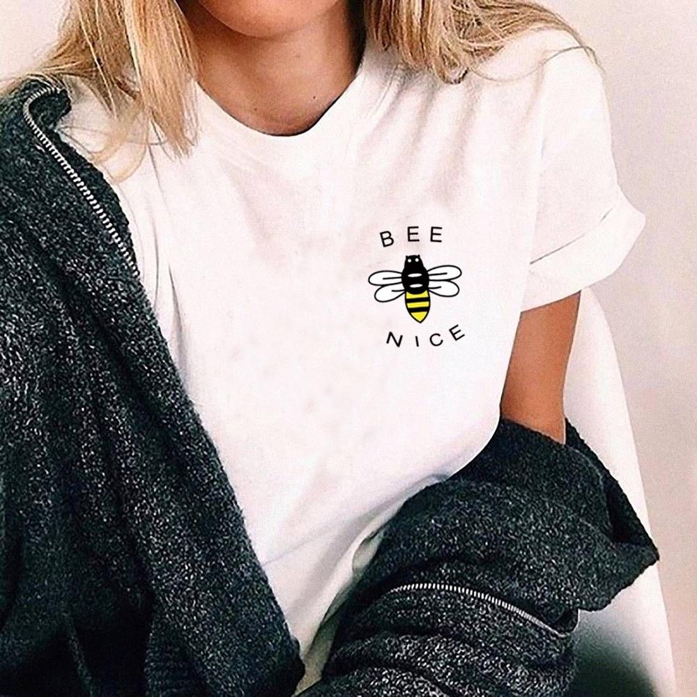 kuakuayu-XSX White Pink Bee Kind Print Women Causal T Shirt Women Vegan Tops Nature Lover Beekeeper Shirt Save The Earth Day Top