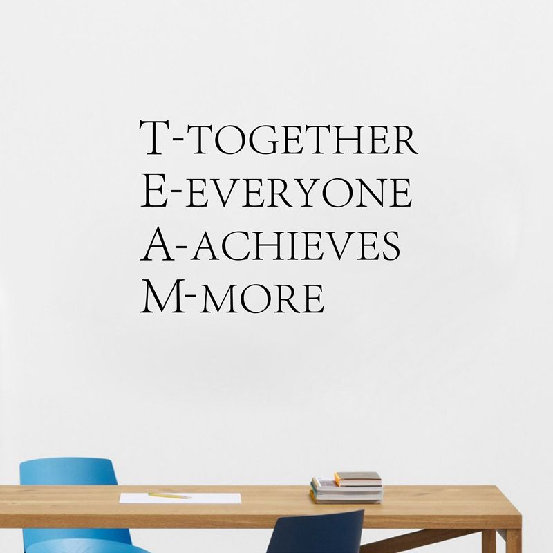 Team Motivational Quote Office Wall Sticker , Together Everyone Achieves More Inspirational vinyl decal Office wall art decor