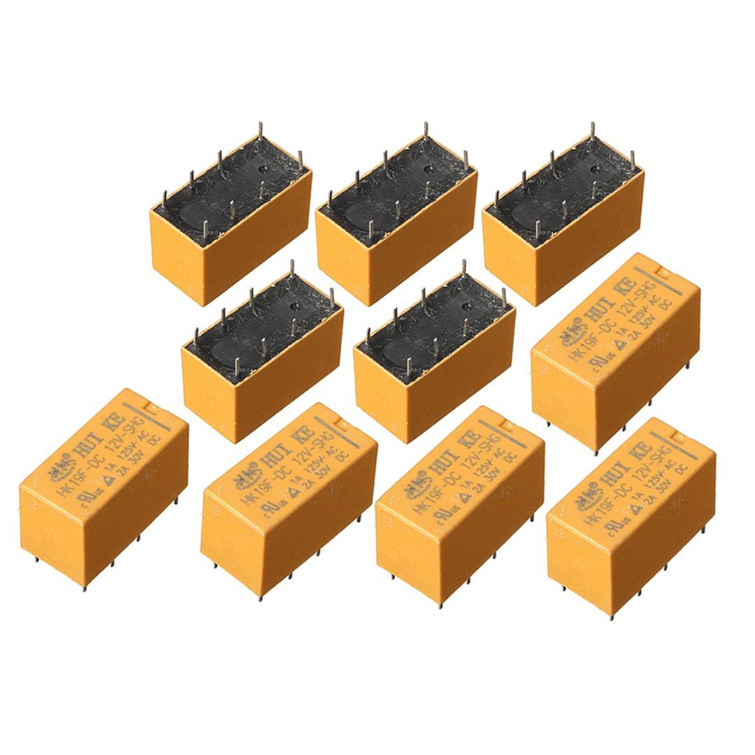 10pcs/lot 8 Pin Power Relays HK19F DC 12V SHG Coil DPDT Mini Power Relays Set PCB Type 100 pcs dc12v shg coil dpdt 8 pin 2no 2nc mini power relays pcb type hk19f yellow