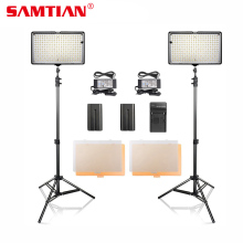 SAMTIAN 2Set Dimmable 3200-5600K 240 LED Video Photo Studio Kit Panel Light dengan Tripod untuk Fotografi Lampu Menembak Video