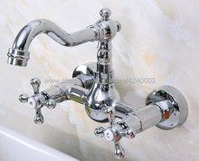 цена на Polished Chrome Bathroom Basin Sink Mix Tap Dual Handles Wall Mounted Kitchen Basin Sink Mixer Faucet Kna968