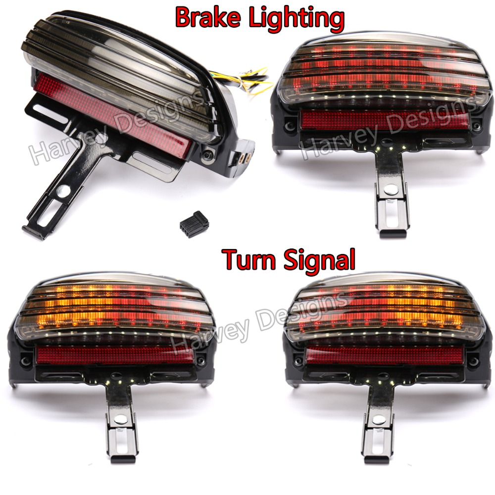 ФОТО Smoke Tri-Bar Fender LED Tail Brake Light for Harley Dyna Fat Bob FXDF 2008 Up