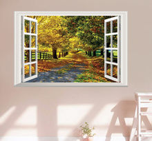 Nice Maple Tree Boulevard 3D False Window Wall Decal Sticker Mural Home Decor Art Stickers