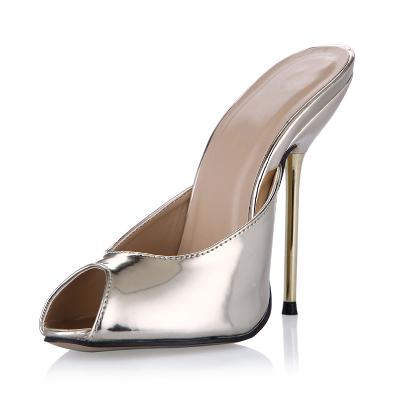 Sexy metal high heel Mules pumps Shoes Woman peep toe Slingbacks Pumps Mirror leather gold high Heels Ladies Shoes 35-43