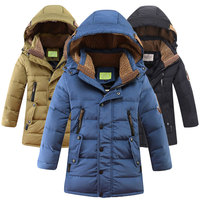 Retail 2019 Winter New Boys Fashion Down Coats Children Long Jacket Thicken Outdoor Warm Hooded Kids Parkas Windproof Outerwear